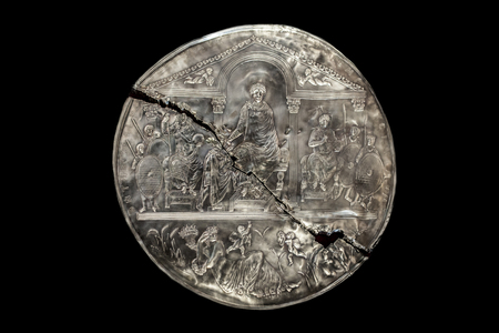 Missorium of Theodosius I enthroned. IV Century Replica piece of ceremonial silver dish found in Almendralejo, Badajoz, Spain Stock Photo