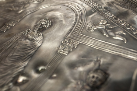 Missorium of Theodosius I enthroned. Replica piece of ceremonial silver dish found in Almendralejo, Badajoz, Spain. Emperor detail