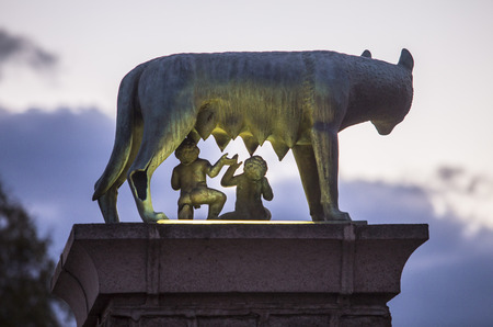 Bronze sculpture of the she-wolf with Romulus and Remus, Replica at Merida city, Spain. Back view