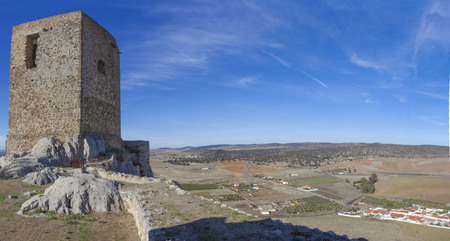Panoramic from Castle of Belmez, Cordoba, Spain. Situated on the high rocky hill overlooking town of Belmez