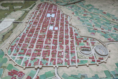 Merida, Spain - December 20th, 2017: Scale model of Imperial City of Emerita Augusta at National Museum of Roman Art in Merida, Spain Editorial
