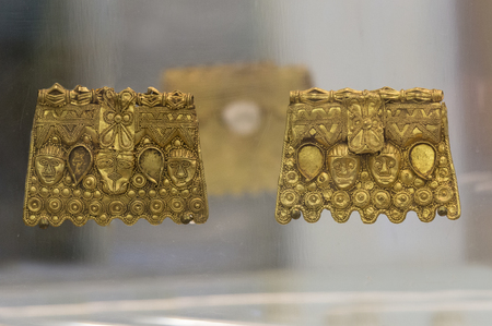 Badajoz, Spain - November 21, 2017: La Martela Hoard golden plates dated at 2nd Iron Ages. Badajoz Archaeological Museum