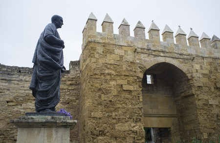 Statue of Seneca, one of the main gate of Cordoba Old Town, Spain