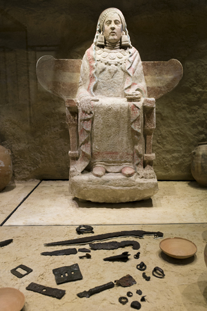 Madrid, Spain - November 10th, 2017: Lady of Baza with grave goods. One of the most important piece of Iberian art. National Archeological  Museum of Madrid Redakční