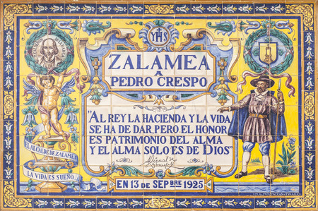 Zalamea de la Serena, Spain - April 28th, 2018: Glazed tiles memorial plaque that pay tribute to Mayor of Zalamea Pedro Crespo, main character of famous Calderon de la Barca play