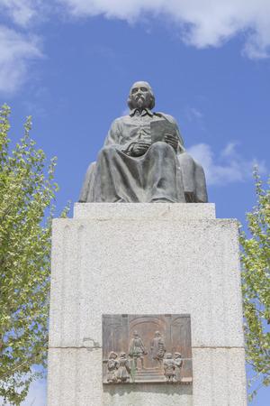 Zalamea de la Serena, Spain - April 28th, 2018: Pedro Calderon de la Barca statue, foremost Spanish Golden Age Theatre Editorial