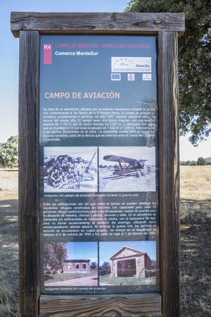Saceruela, Spain - 2017 September 2nd: Republican aviation Airfield. Explanatory post, Ciudad Real, Spain