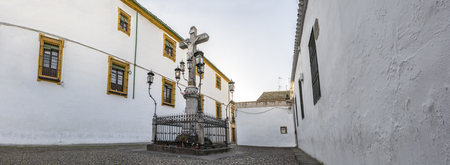 Christ of the Lanterns in the morning. Square of Capuchins, Cordoba, Spain. Panoramic