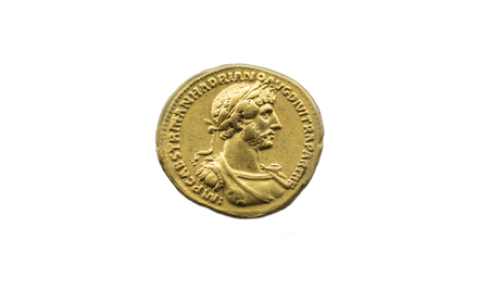 Hadrian Roman Emperor gold coin. Isolated over white background
