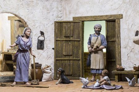 Badajoz, Spain - December 2017: Christmas Nativity scene. Diorama built by Local Association of Friends of Cribs of Badajoz. Jesus Childhood Redakční