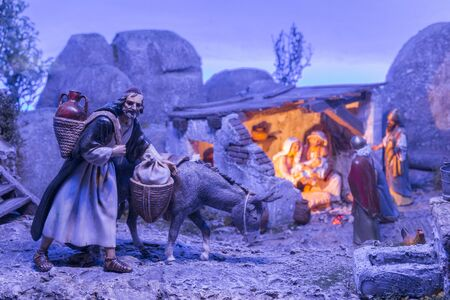 Badajoz, Spain - December 2017: Christmas Nativity scene. Diorama built by Local Association of Friends of Cribs of Badajoz
