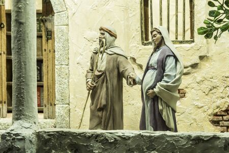 Badajoz, Spain - December 2017: Christmas Nativity scene. Looking for overnight accommodation. By Local Ac. of Cribs of Badajoz Editorial