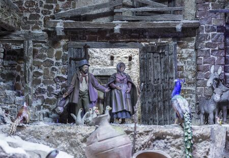 Badajoz, Spain - December 2017: Christmas Nativity scene. Holy Family find the barn. By Local Ac of Cribs of Badajoz