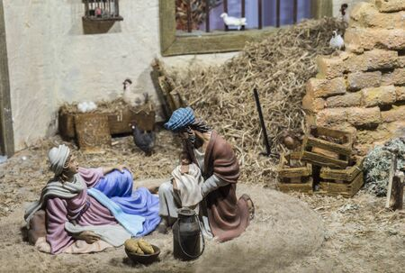 Badajoz, Spain - December 2017: Christmas Nativity scene. Holy Family resting after Birth of Jesus. By Local Ac of Cribs of Badajoz