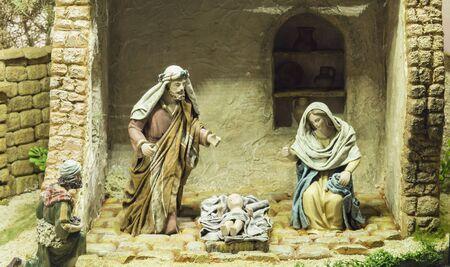 Badajoz, Espagne - décembre 2017 : Crèche de Noël. Diorama réalisé par l'Association Locale des Amis des Crèches de Badajoz