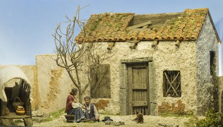 Badajoz, Spain - December 2017: Christmas Nativity scene. Gipsy cover. Diorama built by Local Association of Friends of Cribs of Badajoz Editorial