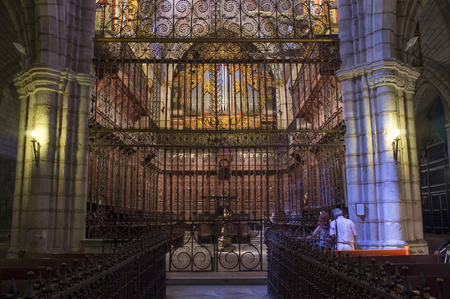 Badajoz, Spain - August 13th, 2018: Metropolitan Cathedral of Saint John the Baptist of Badajoz indoor. Choir