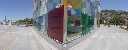 Malaga, Spain - July the 9th, 2018: Centre Pompidou glass-and-steel structure