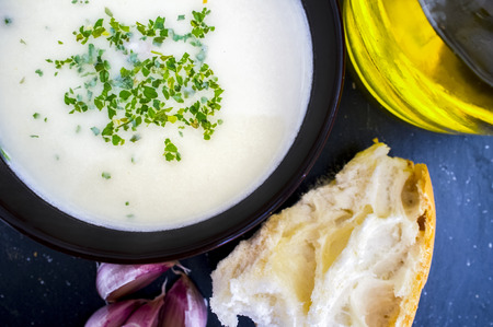 Ajoblanco o white gazpacho, popular cold soup from south Spain. Overhead view