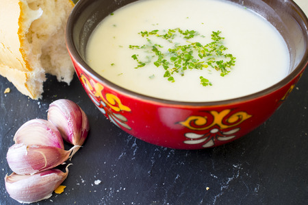 Ajoblanco o white gazpacho, popular cold soup from south spain