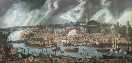 Madrid, Spanien - 8. September 2018: Sevilla im 16. Jahrhundert, Goldene Kolonialzeit. Maler Alonso Sanchez Coello, Museum of the Americas, Madrid, Spanien Editorial