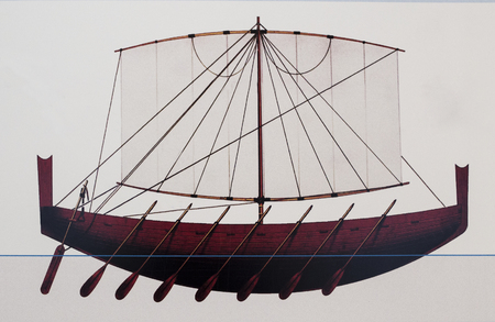 Huelva, Spain - July 02, 2018: Draw of ancient phoenician ship at Archaeological Museum of Huelva, Andalusia, Spain Editorial