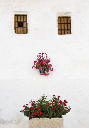 Andalusian whitewashed house with flowerpots and jardiniere face shaped. Alfarnatejo, Malaga mountains, Andalusia, Spain.