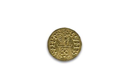 Cordoba, Spain - Dec 7th, 2018: Tremissis of Liuvigild. He was a Visigothic King of Hispania from 568 to April 586. Cordoba Archaelogical Museum, Spain Editorial
