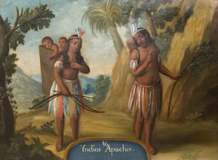 Madrid, Spain - Sept 8th, 2018: Apache indians, 18th century depiction. Oil on copper painting. Museum of the Americas, Madrid, Spain