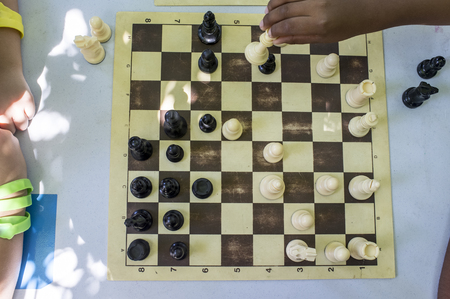 Chess workshop for children under tree summer shadows. Multiplayer players Banco de Imagens