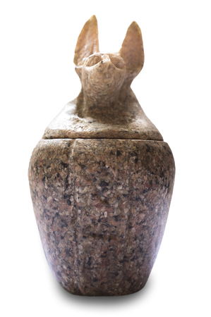 Reproduction of canopic jar. Duamutef, the jackal-headed made of Aswan red granite