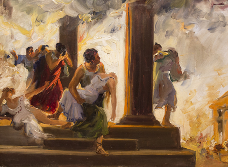 Montilla, Spain - March 2nd, 2019: Great Fire of Rome by Jose Garnelo Alda. Garnelo Museum, Cordoba, Spain