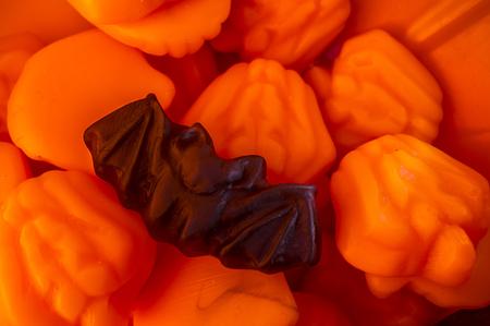 Sweets bag full of gummy jelly bat candies. Overhead shot