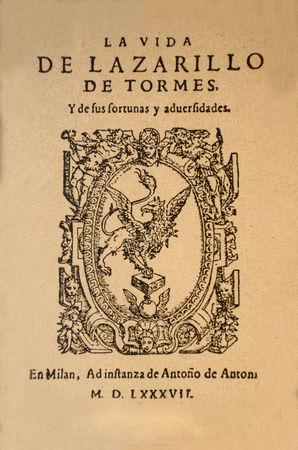 Badajoz, Spain - Dic 15th, 2018: Title page of Life of Lazarillo de Tormes novel. Milan edition of 1587