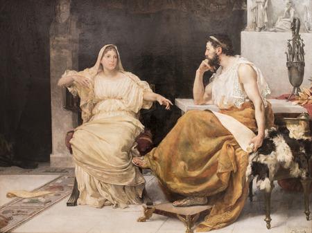 Montilla, Spain - March 2nd, 2019: Aspasia and Pericles by Jose Garnelo Alda. Garnelo Museum, Cordoba, Spain Editorial