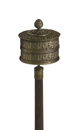 Chinese prayer wheel. Isolated over white background