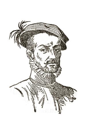 Badajoz, Spain - Jan 7th, 2019: Hernan Cortes Portrait. Draw from book Enciclopedia Autodidactica published by Dalmau Carles in 1954