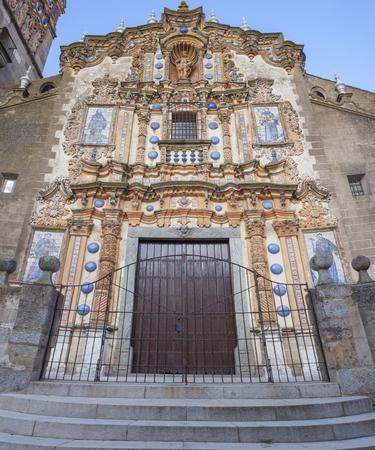 Church of San Bartolome at Jerez de los Caballeros, Badajoz, Spain. Main facade Stock Photo