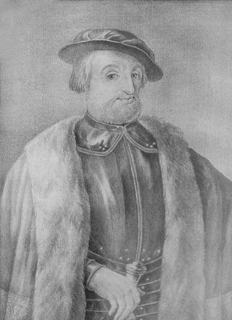Jerez de los Caballeros, Spain - April 15th, 2019: Hernan Cortes Portrait.  Nunez de Balboa House-Museum 報道画像