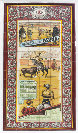 Osuna, Spain - April 20th, 2019: Osuna bullring inauguration poster in 1904, Seville, Spain. Glazed tile wall
