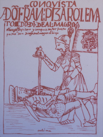 Caceres, Spain - March 28th, 2019: Pizarro assassination by Almagro. Draw reproduction at Casa Pedrilla History Museum. Caceres, Extremadura, Spain Editorial