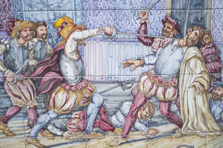 Badajoz, Spain, April 24th, 2019: Francico Pizarro is assassinated by Almagro supporters. Painting with scenes from America conquest