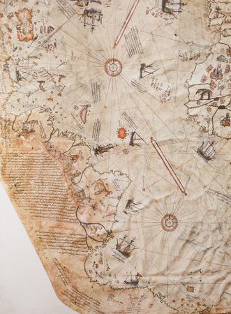 Jerez de los Caballeros, Spain - April 15th, 2019: 1513 Piri Reis map, surviving fragment. Reproduction at House-Museum of Nunez of Balboa original at Istanbul Topkapi Library Stock Photo - 122056372