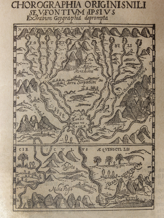 Badajoz, Spain - Jan 7th, 2019: Antique map of Source of the Nile, 1665, Picture from book Enciclopedia Autodidactica written in spanish by Dalmau Carles, published in 1954 Éditoriale