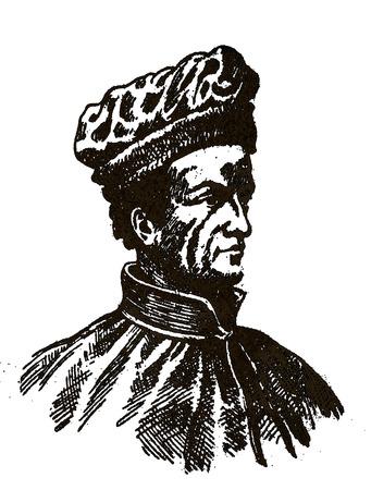 Badajoz, Spain - Jan 7th, 2019: Amerigo Vespucci portrait. Italian navigator and cartographer. Draw from book Enciclopedia Autodidactica published by Dalmau Carles in 1954
