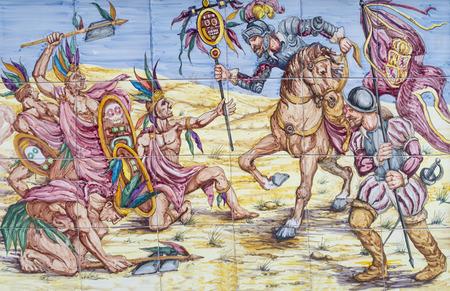 Badajoz, Spain - April 24th, 2019: Battle of Otumba. Conquest of Aztec Empire scene. Glazed tiles wall