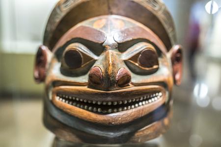 Madrid, Spain - Sept 8th, 2018: Tlingit culture helmet. Museum of the Americas, Madrid, Spain