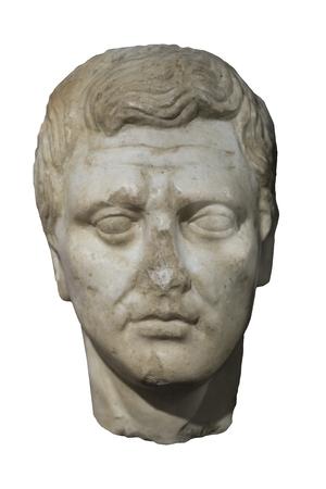 Malaga, Spain - Sept 21th, 2018: Roman bust of Menander, Greek dramatist. Isolated. Ifergan Museum, Spain
