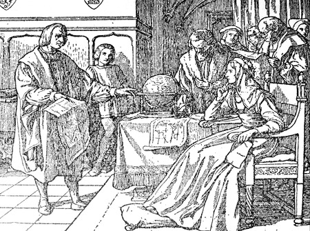 Badajoz, Spain - Jan 7th, 2019: Christopher Columbus explain his plans to Queen Isabella I of Castile. Draw from book Enciclopedia Autodidactica published by Dalmau Carles in 1954