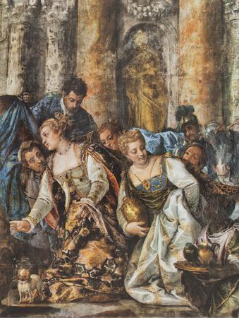 Jerez de los Caballeros, Spain - April 15th, 2019: The Queen of Sheba Offering Gifts to Solomon by Veronese. Reproduction at House-Museum of Nunez de Balboa original at